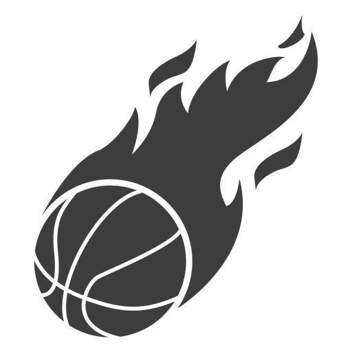 Flaming basketball ball cut out