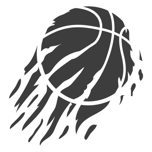 Flaming basketball cut out