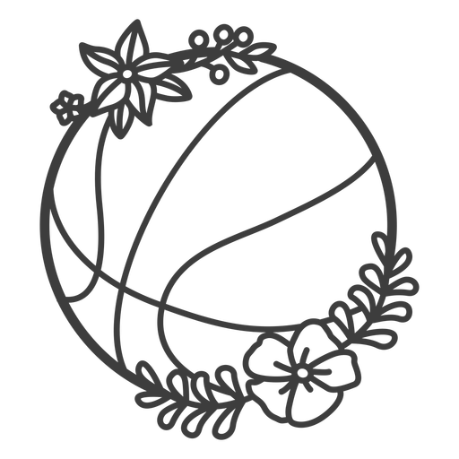 Golpe de pelota de baloncesto floral