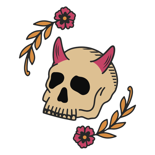Floral skull tattoo Transparent PNG