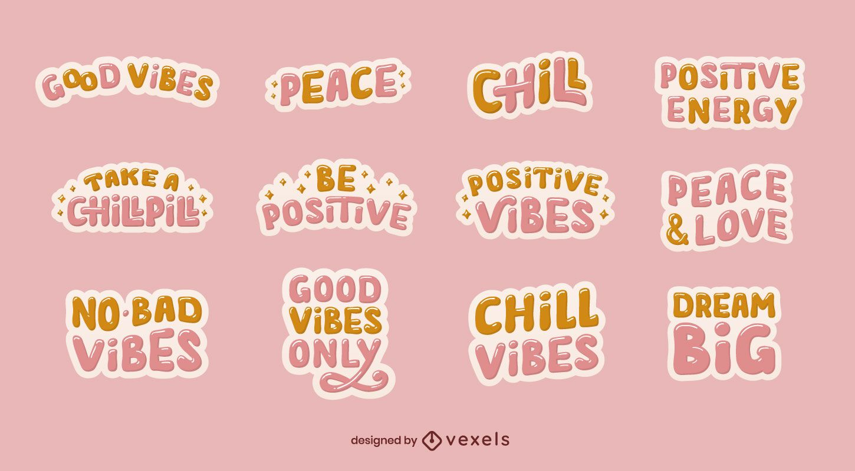 Conjunto de adesivos de boas vibrações