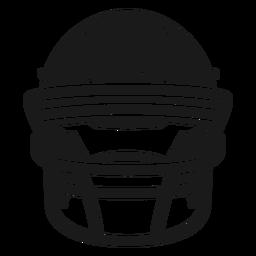 Corte frontal del casco de fútbol americano
