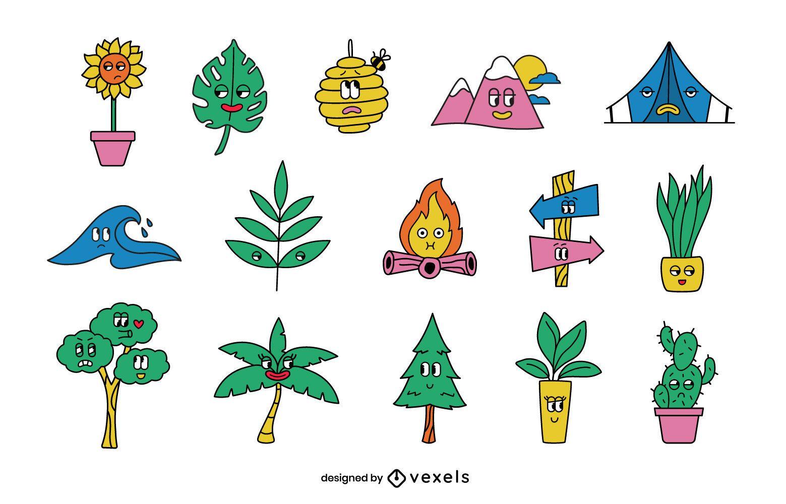 Conjunto de desenhos animados retrô da natureza