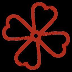 Trazo de trébol de cuatro hojas