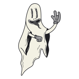 Ghost halloween retro cartoon