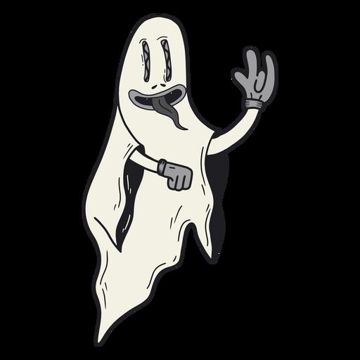 Dibujos animados retro de halloween fantasma