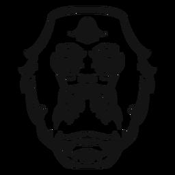 Cabeça de gorila em alto contraste