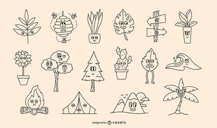 Conjunto de trazos de dibujos animados retro de naturaleza