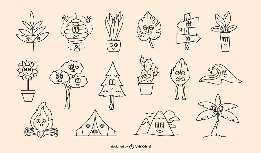 Nature retro cartoon stroke set