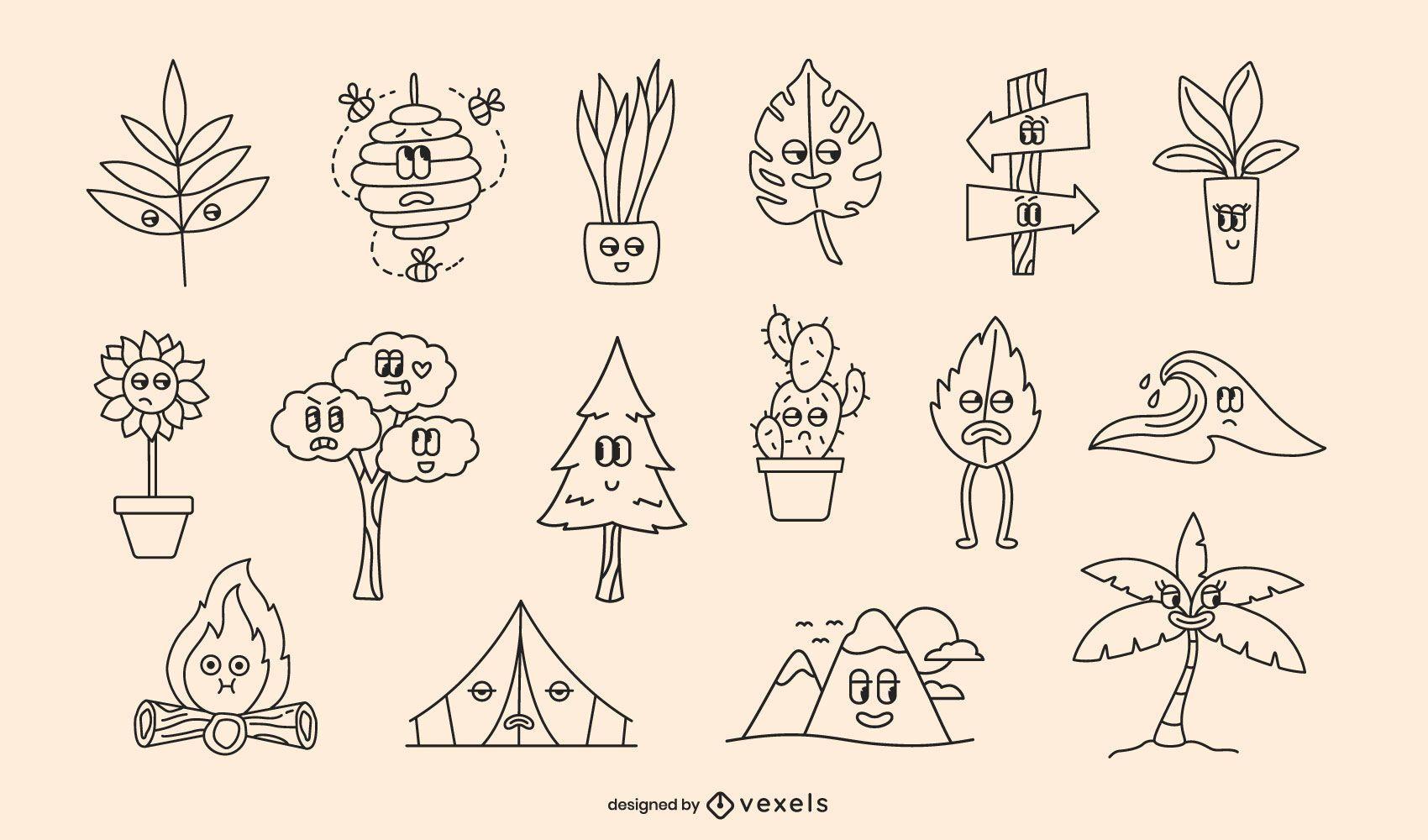 Conjunto de traços de desenho retrô da natureza