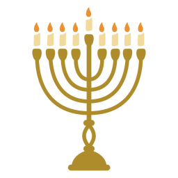 Hanukkah menorah candelabrum flat
