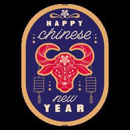 Insignia de toro feliz año nuevo chino