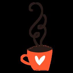 Taza de corazón de doodle de café
