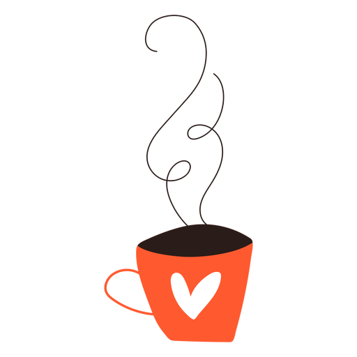 Heart cup of coffee doodle