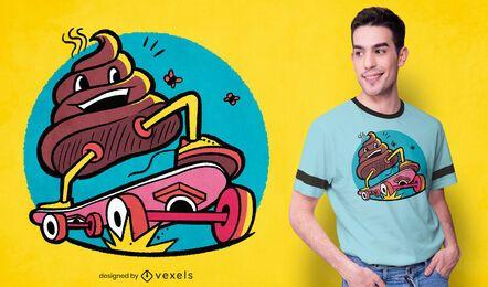 Diseño de camiseta de caca de skate.