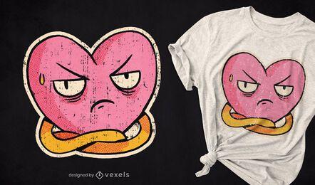 Design de t-shirt com coração enojado