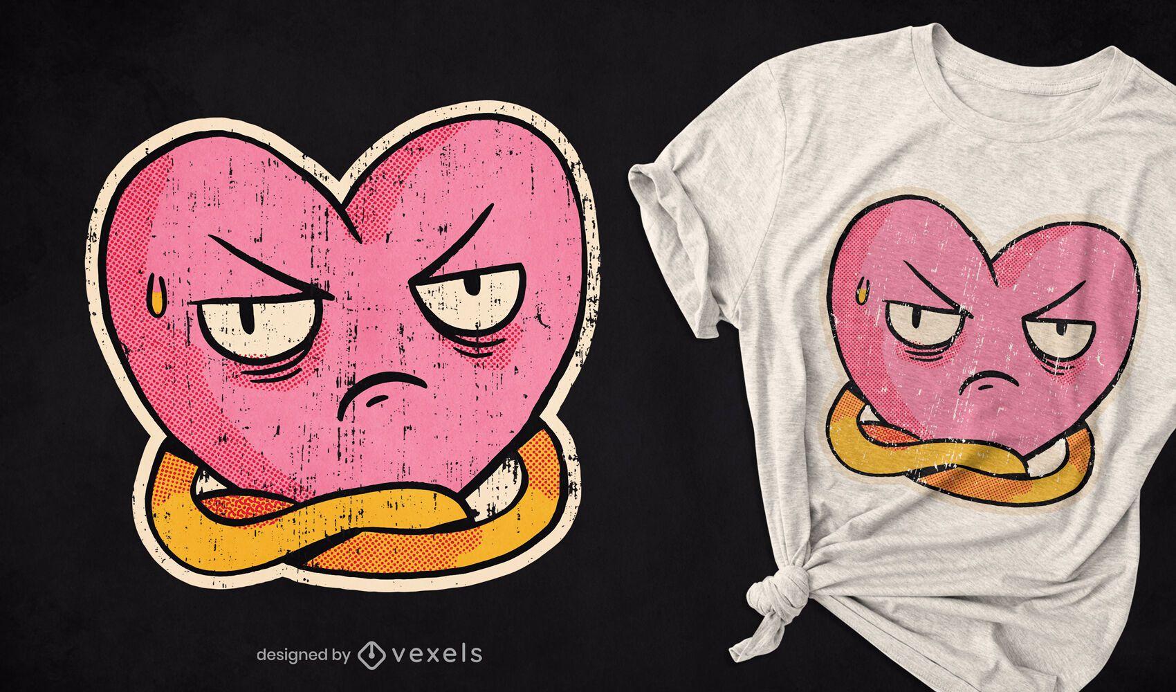 Diseño de camiseta de corazón disgustado