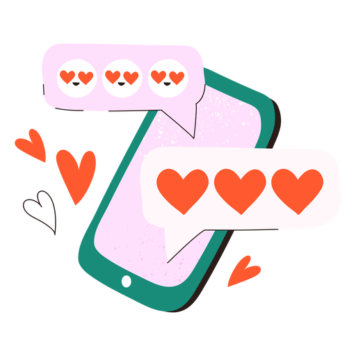 Doodle de teléfono móvil de textos amorosos