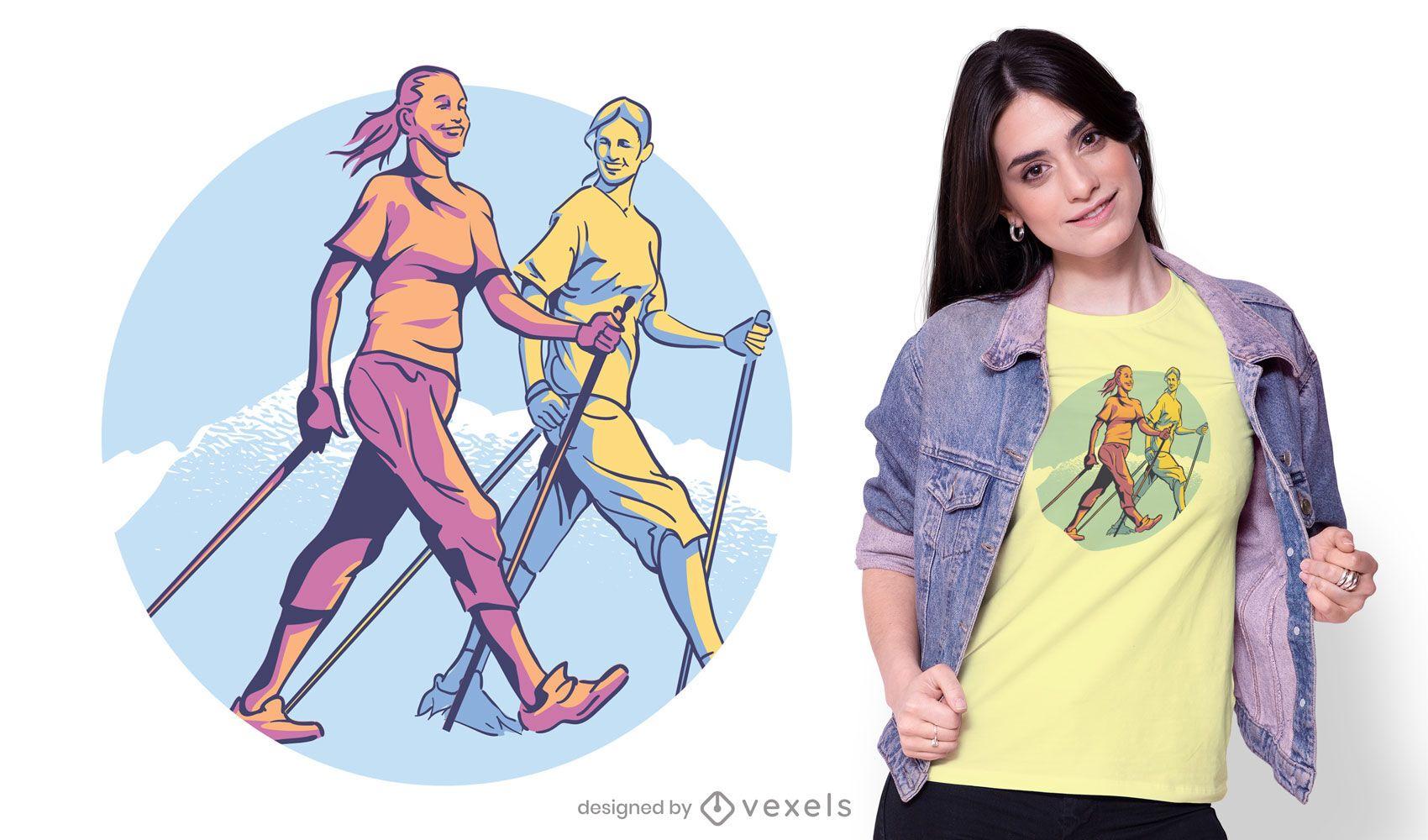 Nordic walking t-shirt design