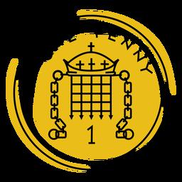 Trazo de color de una moneda de un centavo