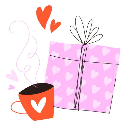 Present and coffee doodle