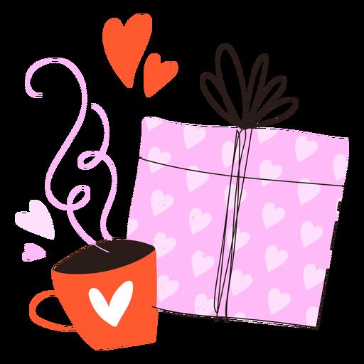 Presente e doodle de café