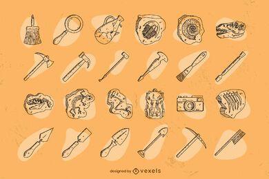 Conjunto de arqueología dibujado a mano.