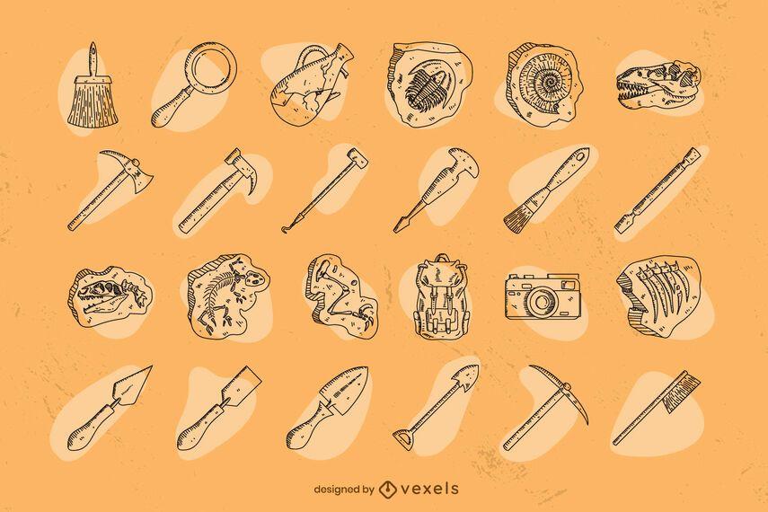 Archaeology hand-drawn set