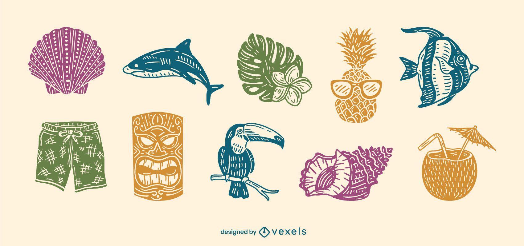 Hawaiian elements cut-out set