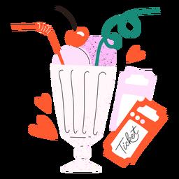 Doodle de entradas de batido de fresa