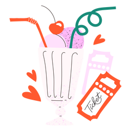 Strawberry milkshake tickets doodle