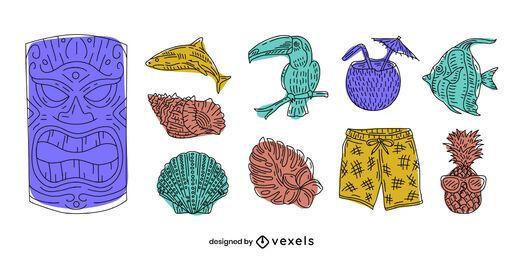 Conjunto de doodle de elementos de Hawaii
