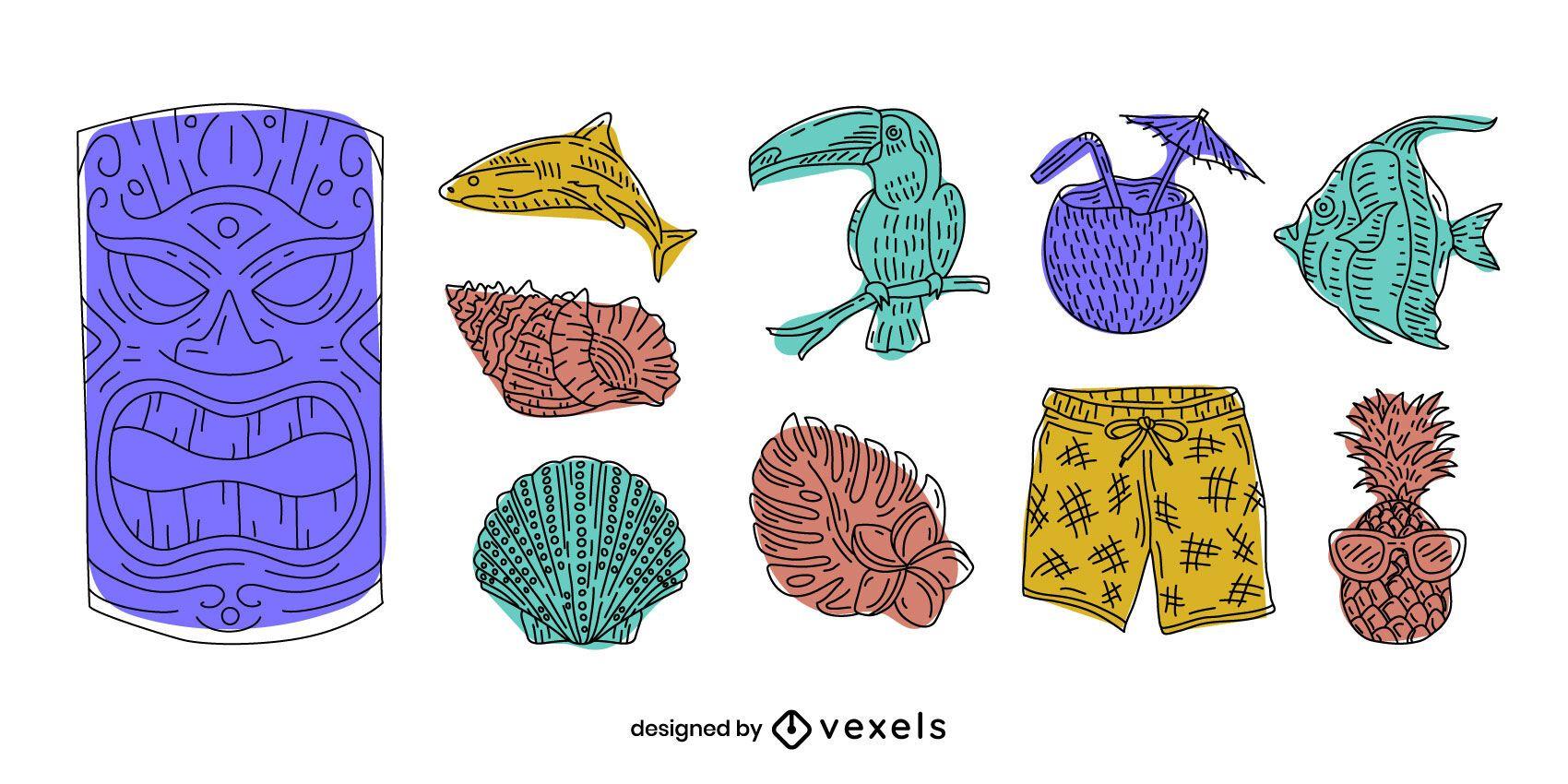 Hawaii elements doodle set