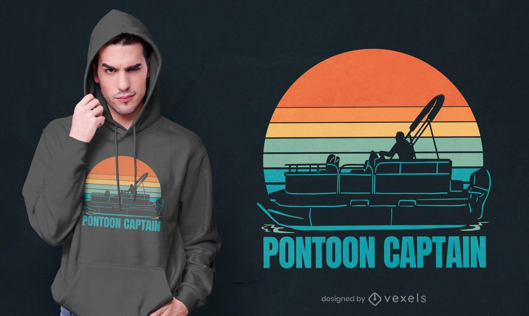 Design de t-shirt do capitão Pontoon