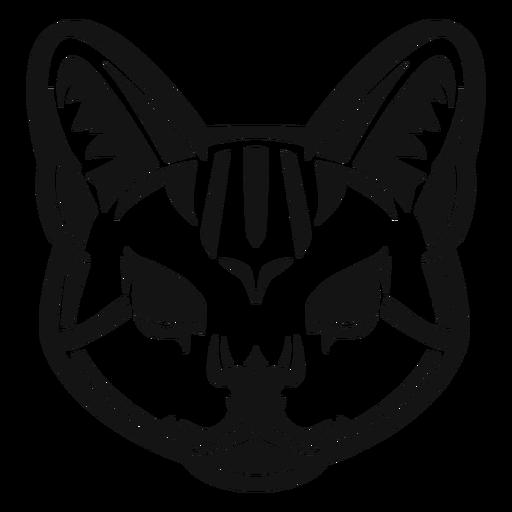 Cabeza de gato salvaje de alto contraste
