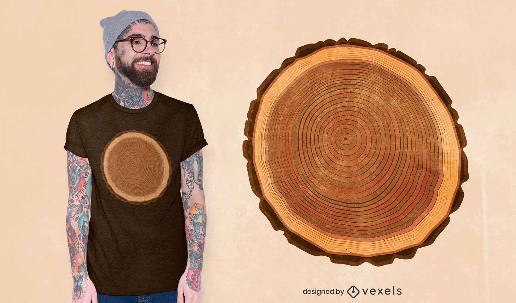 Design de camisetas com anéis de árvores