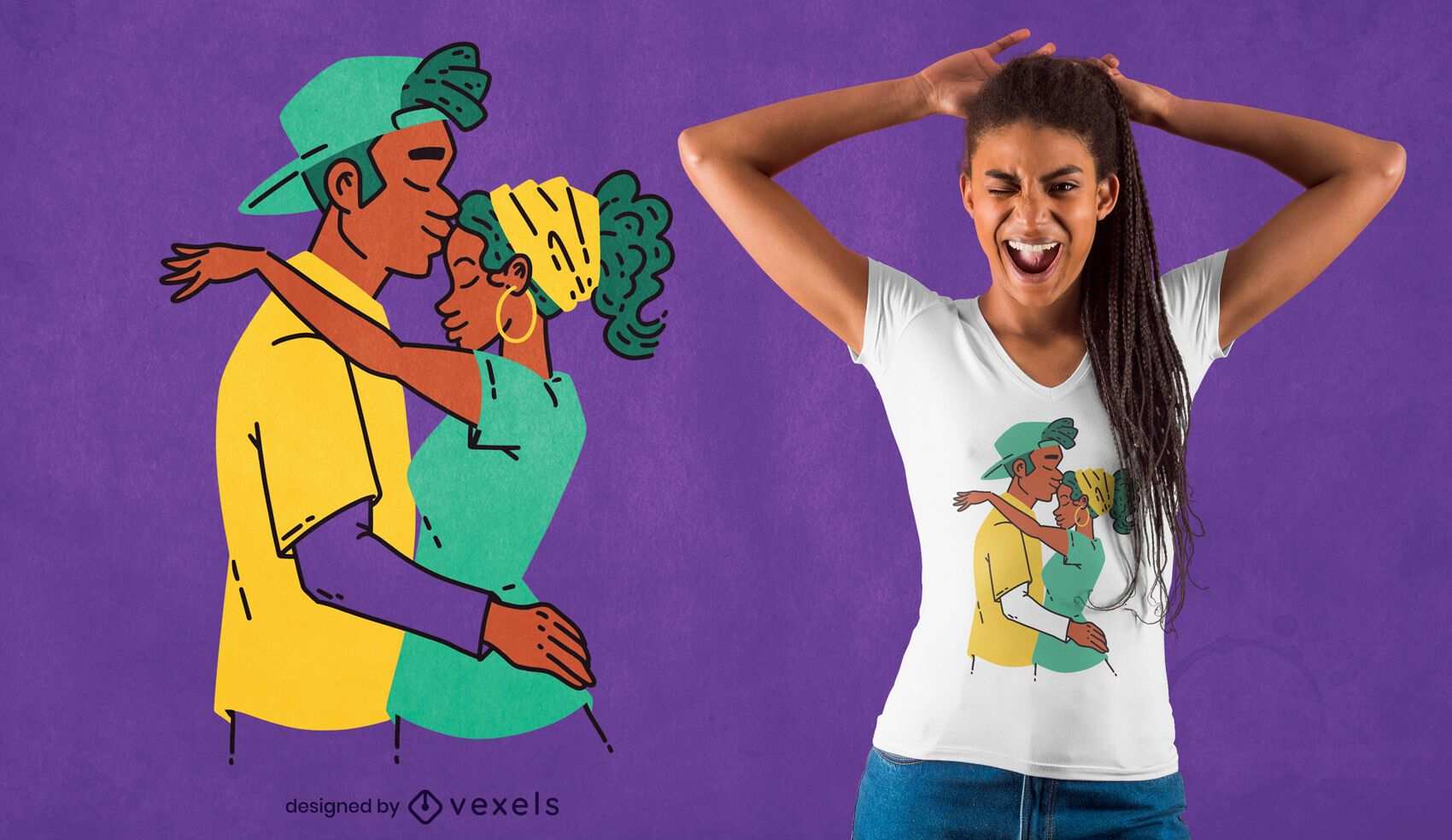 Desenho de t-shirt de casal afro-americano