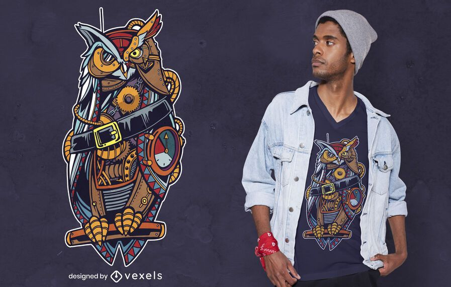 Steampunk owl t-shirt design
