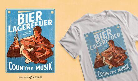 Diseño de camiseta de fogatas y música country.