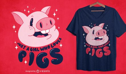 Diseño de camiseta de niña ama los cerdos