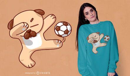 Diseño de camiseta de perro de fútbol dabbing