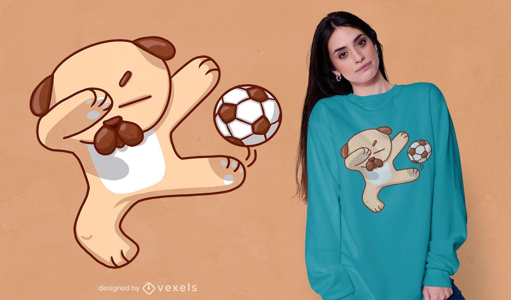 Dabbing soccer dog t-shirt design