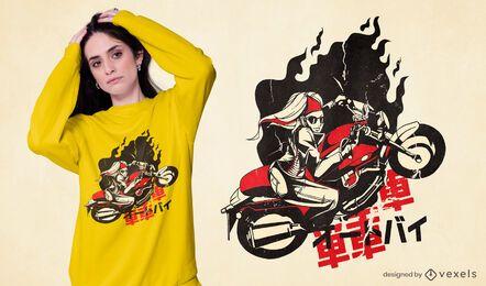 Design de camiseta feminina para motocicleta