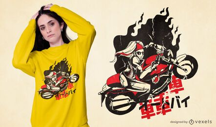 Diseño de camiseta de moto chica