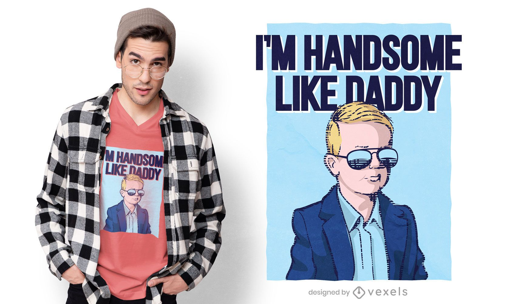 Handsome like daddy t-shirt design