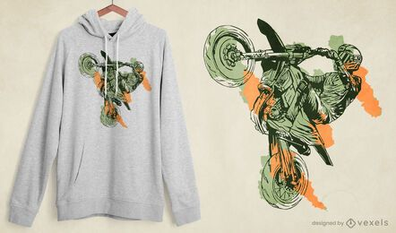 Design de camiseta para acrobacias de motocicleta
