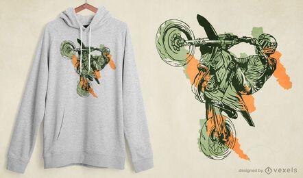 Diseño de camiseta de truco de moto.