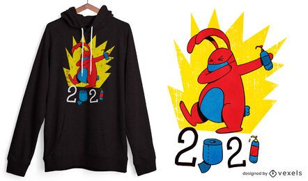 Diseño de camiseta de conejito de pascua covid