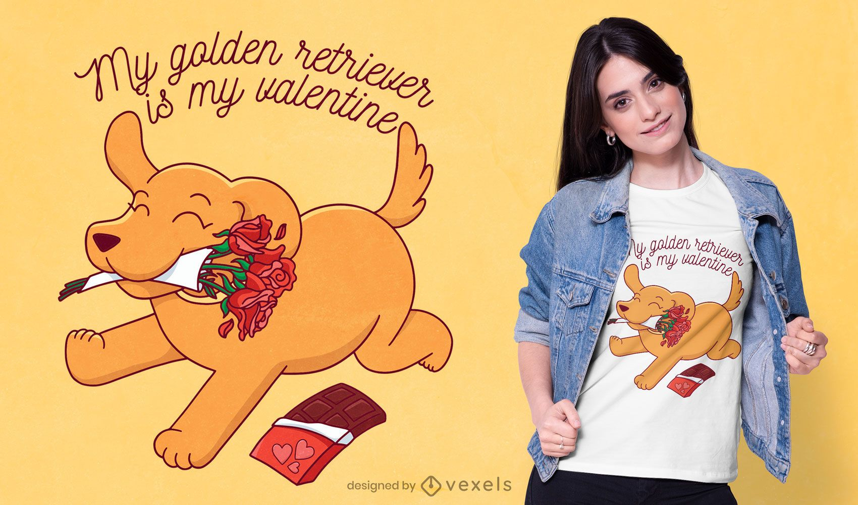 Diseño de camiseta Golden retriever Valentine