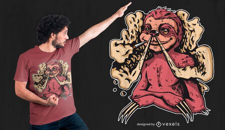 Design de camiseta para junta de preguiça